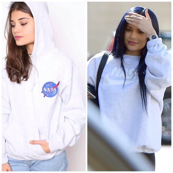 9cddc3ad7278 Urban Outfitters Tops | Nasa Logo Patch Oversize Hoodie White ...